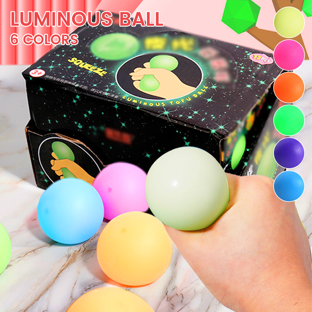Красочный мяч для снятия стресса, игрушки, светящаяся настенная мишень, мяч на присоске, липкие игрушки для декомпрессии для детей и взрослы...
