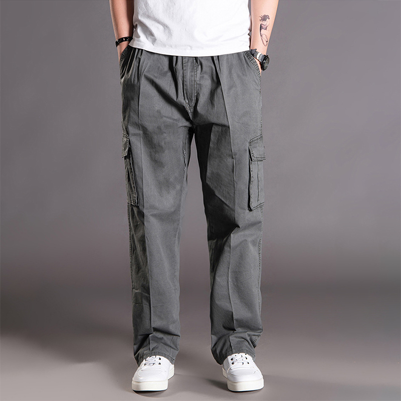 Thoshine Brand Spring Autumn Winter Men Casual Cargo Pants 100% Cotton Multiple Pockets Male Trousers Loose Plus Size Oversize