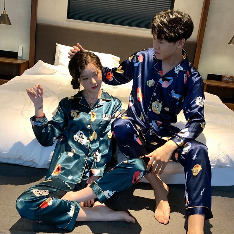 [Temperature Attitude Warm] Spring Couples Pajamas Imitated Silk Fabric Viscose Cartoon Long-sleeve Suit Men And Women Home Wear
