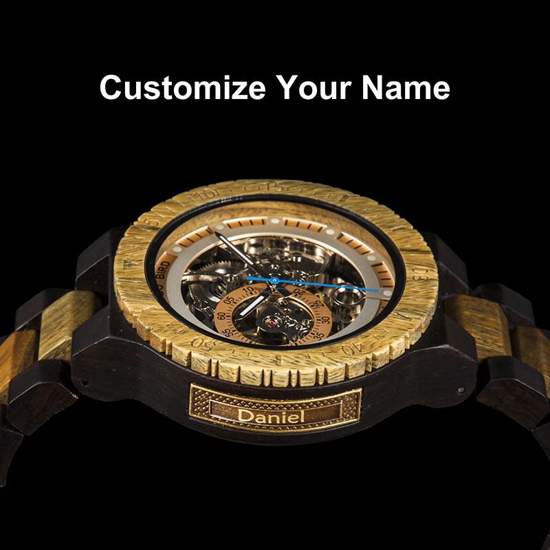 Personalized Customiz Watch Men BOBO BIRD Wood Automatic Watches OEM Anniversary Gifts for Him Free Engraving