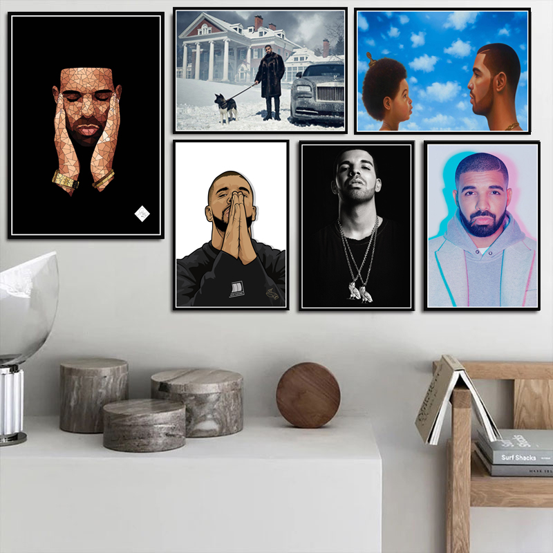 Poster Prints New Drake Hip Hop Rap Music Album Rapper Star Singer Art Canvas Painting Wall Pictures For Living Room Home Decor