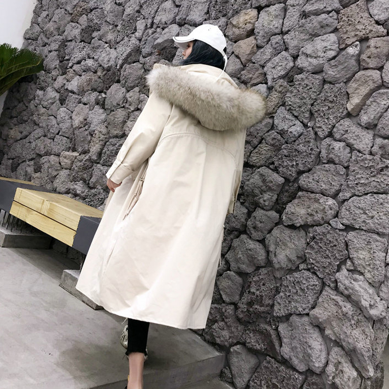 Large Real Raccoon Fur Collar Women Winter Down Jacket Coat Hooded Long Overcoat Female Thicken White Duck Down Parkas