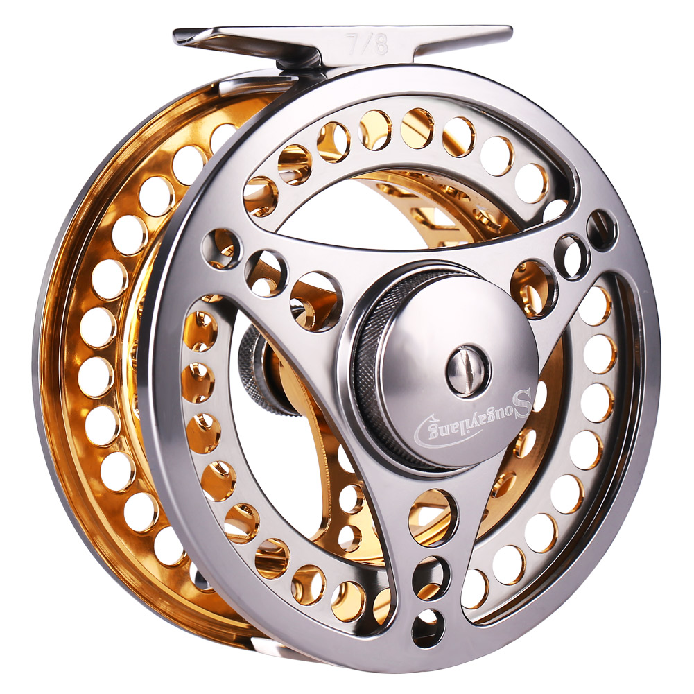 Sougayilang Large Arbor Fly Fishing Reel 2+1 BB High Die Casting Aluminium Alloy Spool Fly Reels Fishing Tackle 7