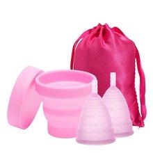Silicone médico copo menstrual esterilizador higiene feminina copo menstrual esterilização menstrual para período menstrual feminino