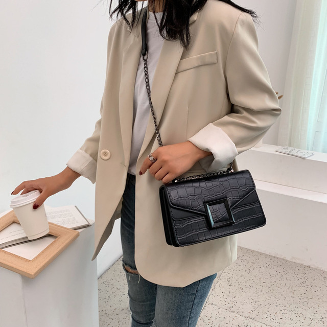 Stone Pattern PU Leather Crossbody Bags For Women 2020 Small Shoulder Messenger Bag Female Luxury Chain Handbags and Purses 2