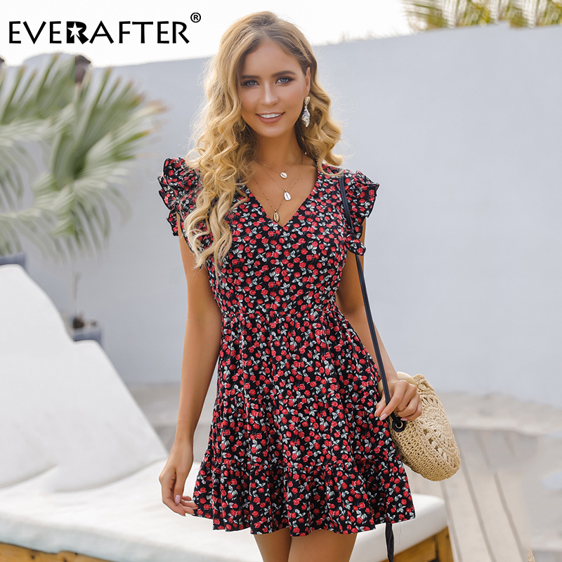 EVERAFTER Women Floral Print Dress Summer High Waist Ruffles Short Dress Slim V-neck Sexy Casual Holiday Beach Mini Dress Female