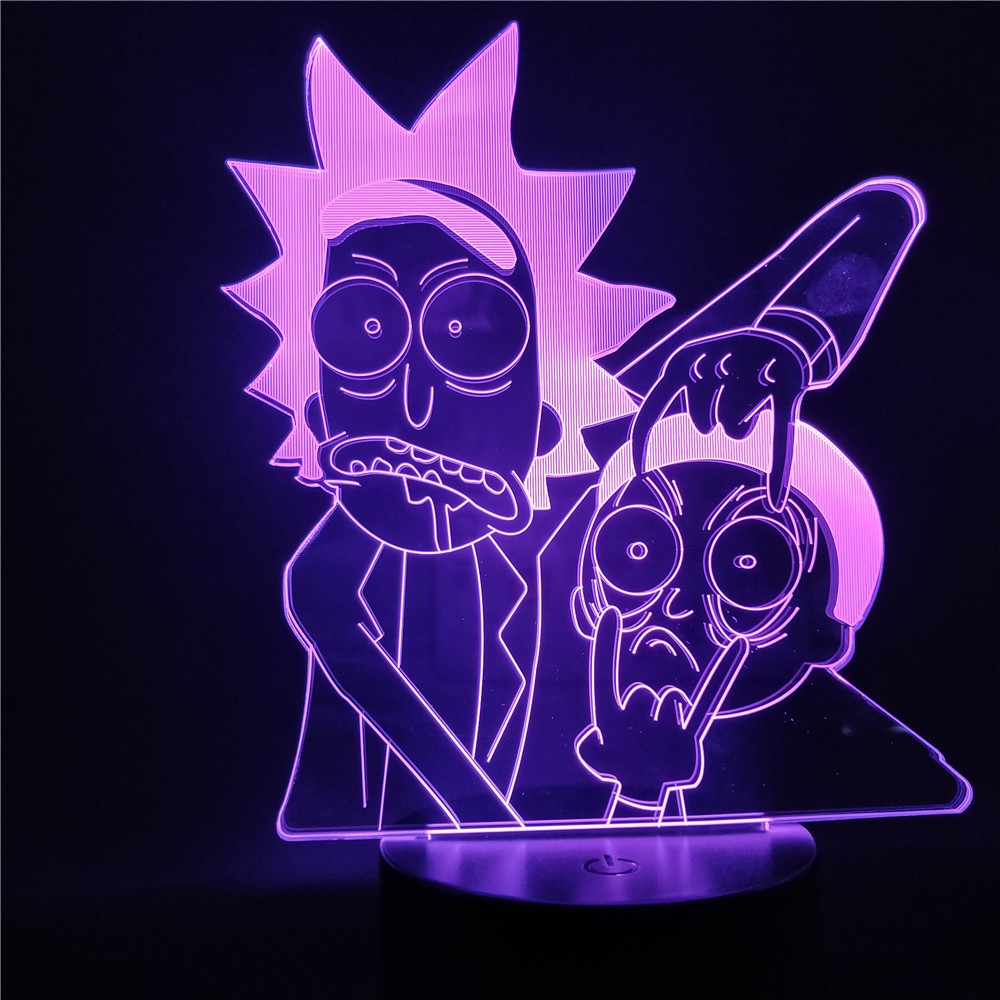 Rick And Morty Cartoon 3d LED Night Light For Children Night Lamp LED Mutilcolors Change LED Table Lamp For Bedroom Xmas Gift