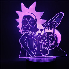 Rick and Morty Cartoon 3d Night Light Children Lamp LED with 7/16 Colors Change Table for Bedroom Xmas Gift