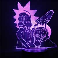 Rick et Morty dessin animé 3d LED veilleuse pour enfants lampe de nuit LED Mutilcolors changement LED lampe de Table pour chambre cadeau de noël
