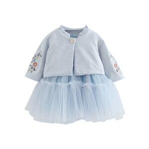 Image 5 - Crianças Conjuntos de Roupas de Outono Crianças de Manga Longa Casaco + vestido de Baile Vestido de Flores Bordado 2 PCS/Ternos de Roupas Meninas queda 0 2Y