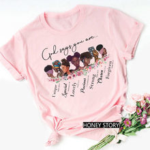Femme Vogue Black Lives Matter Juneteenth Tops Melanin Women Pink T Shirt God Says You Are Black Girl is Beautiful Magic Tshirt(China)