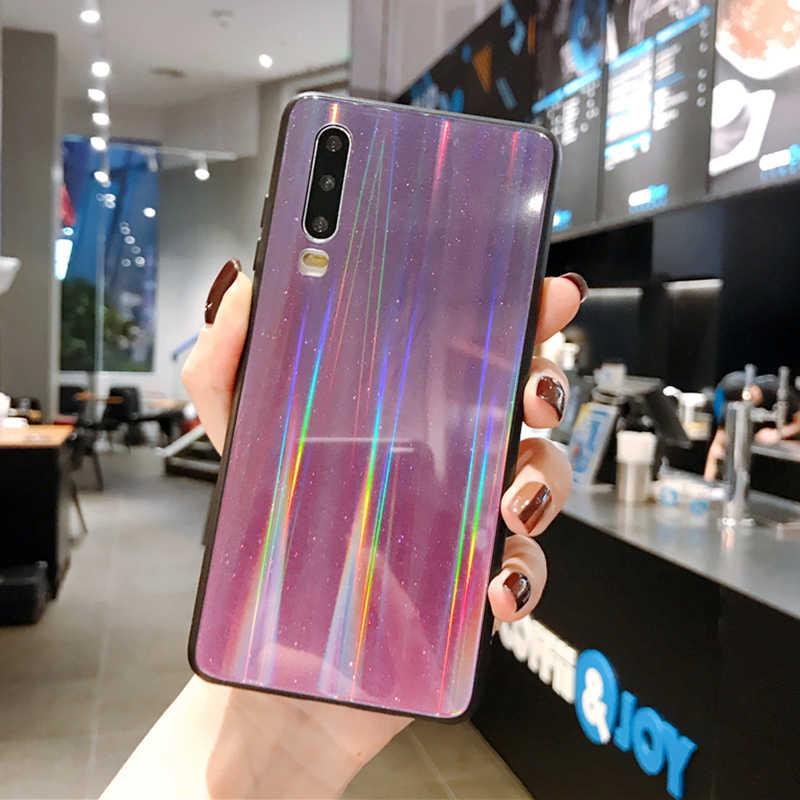 Aurora cam flaş telefon kılıfı için Huawei Mate 30 20 10 9 Lite Pro Nova 3 4 i e Nova 5 i Pro Nova2 Lite lüks telefon kapağı