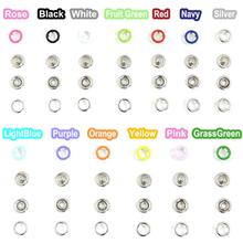 20pcs/lot 9.5mm Prong Brass Open Ring Press Snaps No Sew  Fasteners Button Nickel Rivet MIx COlors Free shipping 50pcs lot 9 5mm black prong open ring no sew press snaps fasteners brass button nickel rivet free shipping