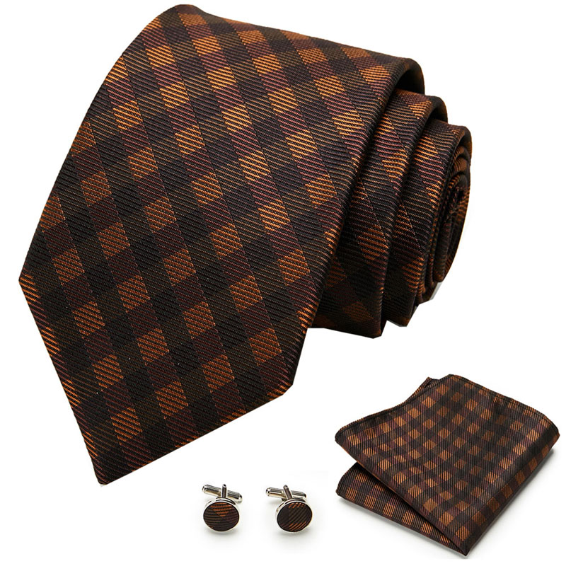 145cm Length Brown Plaid&Floral Ties Brown Gold Purple Blue Hanky Cufflinks Set Men's Silk Tie 8cm Tie Wedding Groom Crava