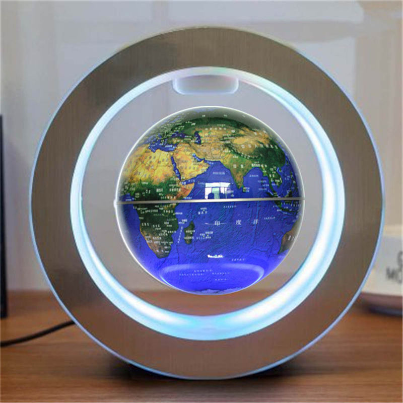 LED Floating Earth Night Light Globe Magnetic Levitation Lamp Novelty 4 Inch Planet Ball For Children Kids World Map English
