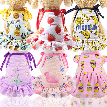 Fashion Cotton Pet Clothes Cute Fruit Pattern Dress T-shirts Lovers Suit Small Medium Cat Dog Clothes Pet Supplies Dog Skirts image