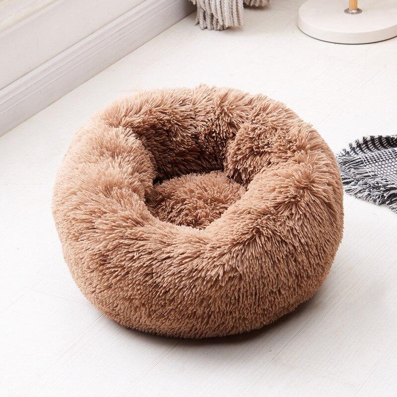 Fluffy Pluche Donut hondenbed kleur bruin 1