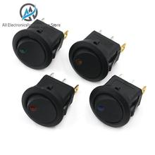 12V LED Dot Light Car Switch Auto Boat Round Rocker 3Pin ON/OFF Toggle SPST Switch 4 Colors Blue Yellow Red Green