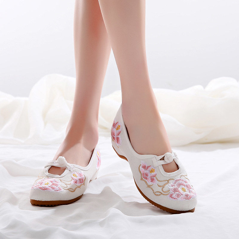 Female Ballet Flats Nurse Retro Shoes 2020 Summer Cheap Fabric Flats Women Loafers Flower Shoes