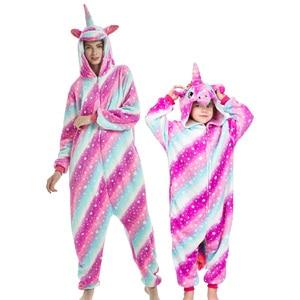 Image 5 - Enfants mère et fille à capuche pyjamas ensemble animal licorne pégase pyjamas famille correspondant pyjamas tenues hiver vêtements de nuit