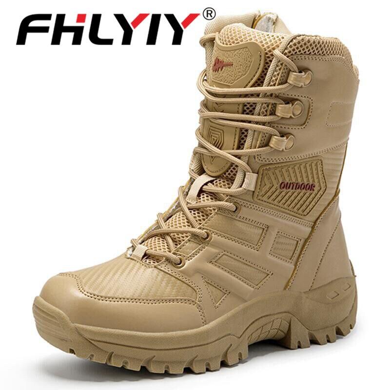 Fhlyiy/брендовые военные тактические мужские ботинки; кожаные ботинки для пустыни; армейские рабочие мужские ботинки; большие размеры 39-47