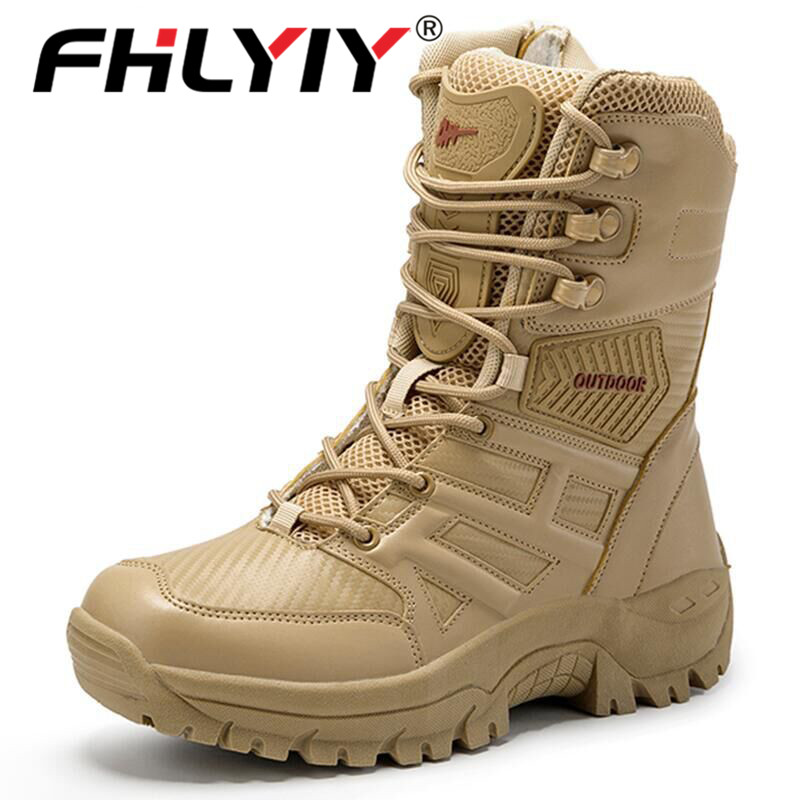 Fhlyiy Brand Military Tactical Mens Boots Special Force Leather Desert Combat Ankle Boot Army Work Men'S Shoes Plus Size 39-47