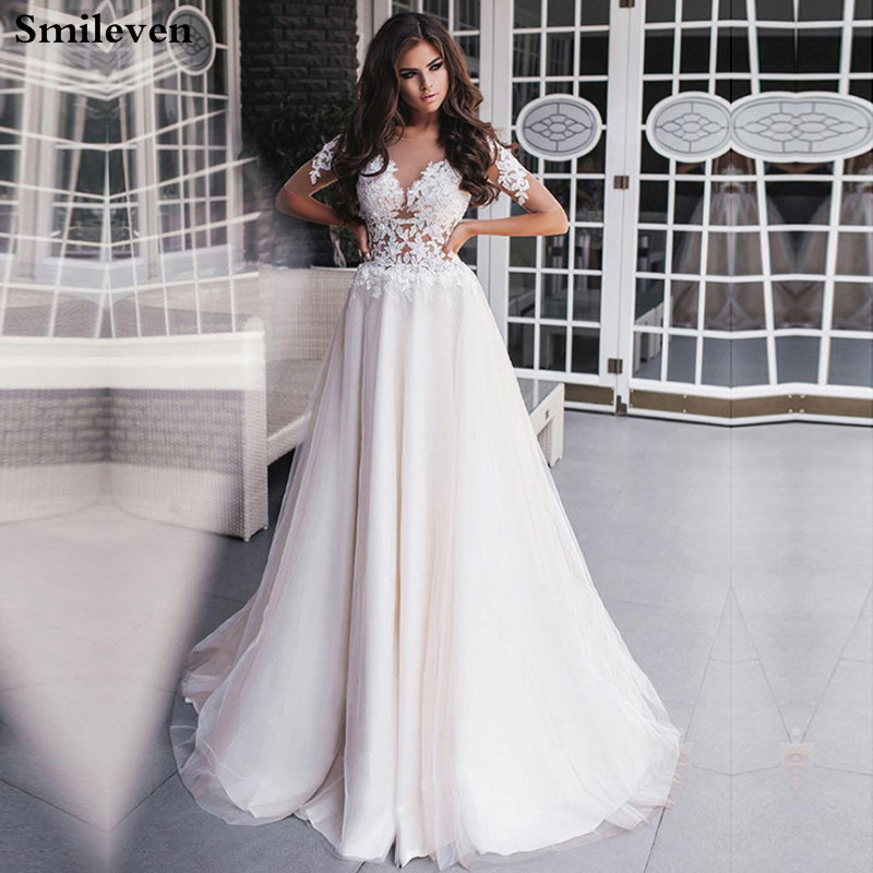 Smileven Princes Wedding Dresses Half Sleeve A Line Boho Lace Bride Dresses Robe De Mariee Wedding Gowns