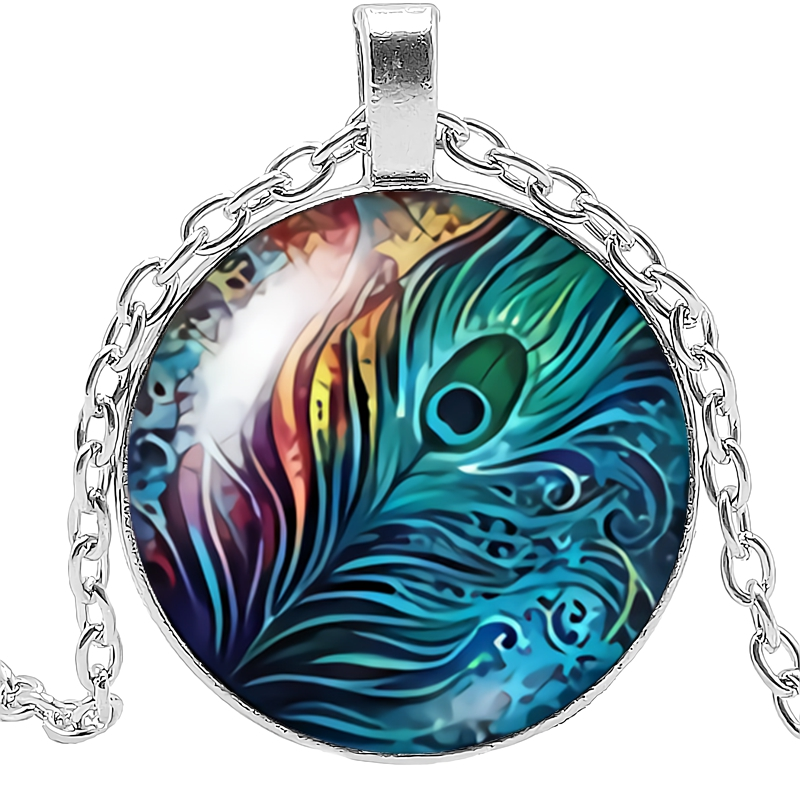 HOT 2019 New Bird Feather Peacock Feather Glass Convex Round Pendant Necklace Cartoon Decoration Necklace Pendant in Pendant Necklaces from Jewelry Accessories