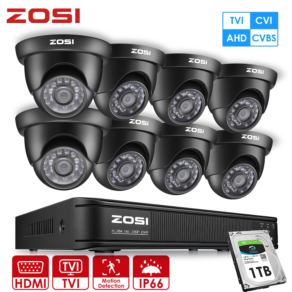 ZOSI 720P 8 Channel 4 in 1 AHD CVI TVI CVBS Dome Video Led Black Camera