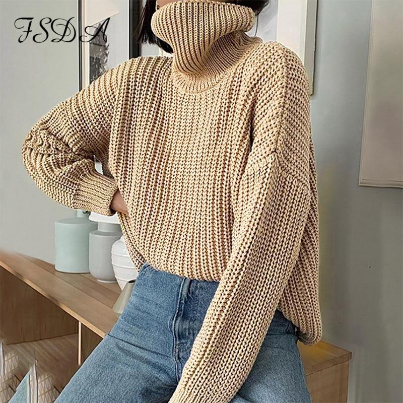 FSDA-suéter holgado de color caqui con cuello alto para mujer, jersey de manga larga, tejido informal, de gran tamaño, para otoño e invierno, 2020