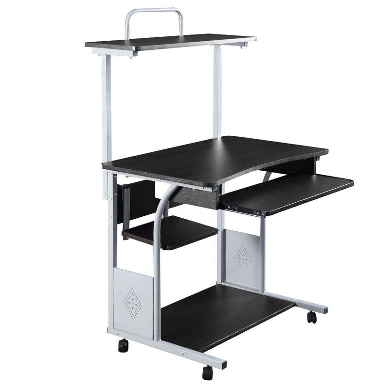 Office Rolling Computer Desk Table With Printer Shelf Bedroom Furniture HW51070