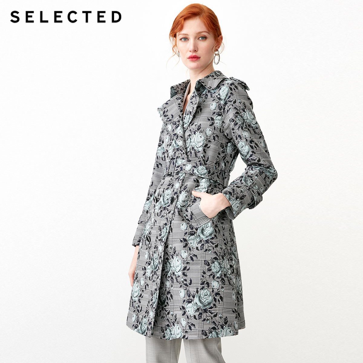 SELECTED Women's Mid-length Jacquard Belt Double-breasted Wind Coat S|419121502