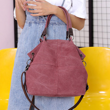 2019 New Canvas Bag Female Bag Korean Version of The Canvas Shoulder Large Capacity Bucket Bag Ring Messenger Bag сумка через плечо new 2014 hot canvas bucket bag female casual shoulder bag 2015 bl059