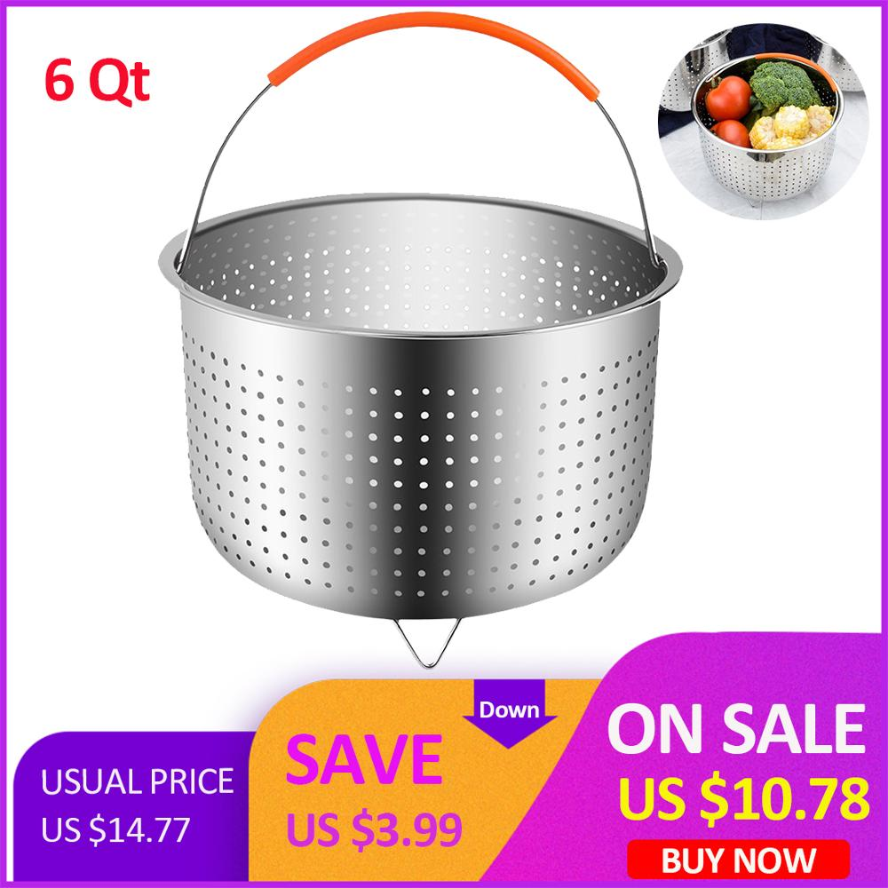Free Shipping 1 Pcs 6 Quart 21.5cm Instant Steam Basket Stainless Steel Steam Pot Steam Rice Cooker With Silicone Handle