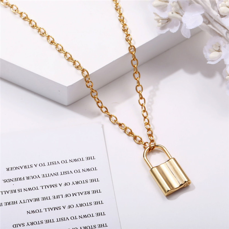 H54a7ecb0bf26408d8fe67f2305992cafD - Punk Chain Golden/Silver Color With Lock Necklace For Women Men Padlock Pendant Necklace Statement Gothic Fashion Jewelry