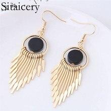 Sitaicery Geometric Metal Long Tassel Statement Earrings Big Gold Silver Pearl Wedding Jewelry Fashion 2019 Womans Accesories