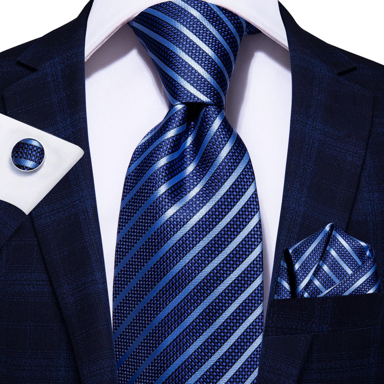 Hi-Tie Striped Business Mens Tie 8.5cm Blue Navy 100% Silk Tie For Men Design Hanky Cufflink Quality Men Tie Set Dropshipping