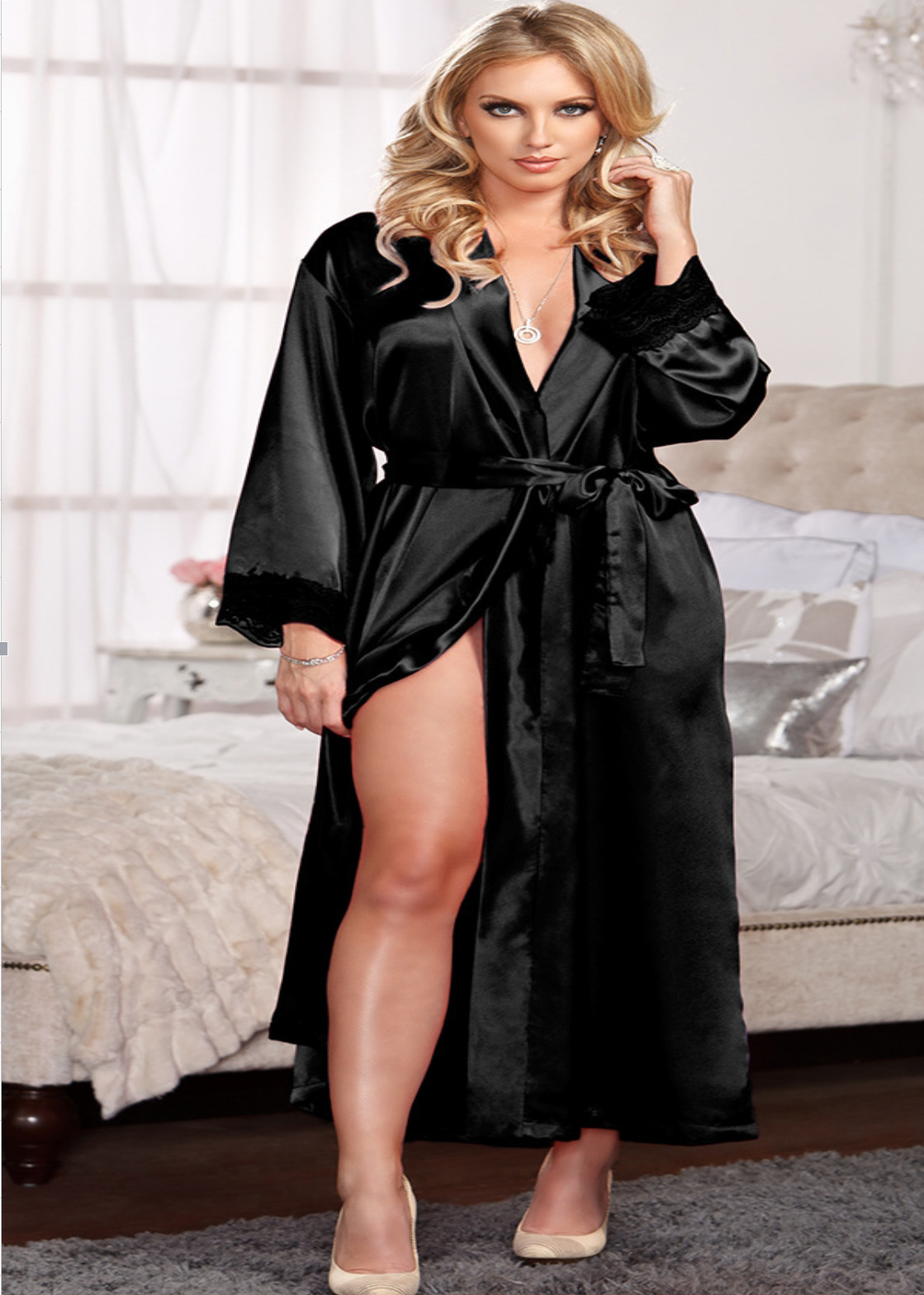 Hot Selling Pajamas Imitated Silk Fabric Robe Bathrobe Large Size Bathrobe Nightgown Supply Of Goods Europe And America 061