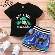 ZAFILLE Summer New Boys Suit 2Pcs Letter Printed T-Shirt+Cartoon Printed Shorts Toddler Outfits 2020 Cotton Baby Boy Clothes baby boy girls clothes set summer cartoon printed t shirt tops shorts 2pcs toddler kids costume cotton boys clothing suit 0 7y