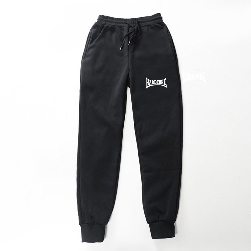 2019 New Quality Fleece Trousers HARDCORE Letter Printed Women Men Jogging Pants Hip Hop Streetwear Men SweatpantS BalckGray