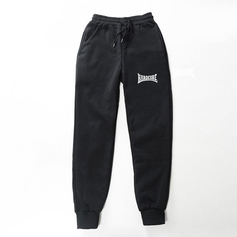2019 New Quality Fleece Trousers HARDCORE Letter Printed Women Men Jogging Pants Hip Hop Streetwear Men SweatpantS BalckGray