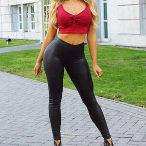 Image 4 - Women Plus Size Faux Leather Pants Black High Waist Lady Female Sexy Skinny Stretchy Trousers Tights for Club Party Casual S 5XL