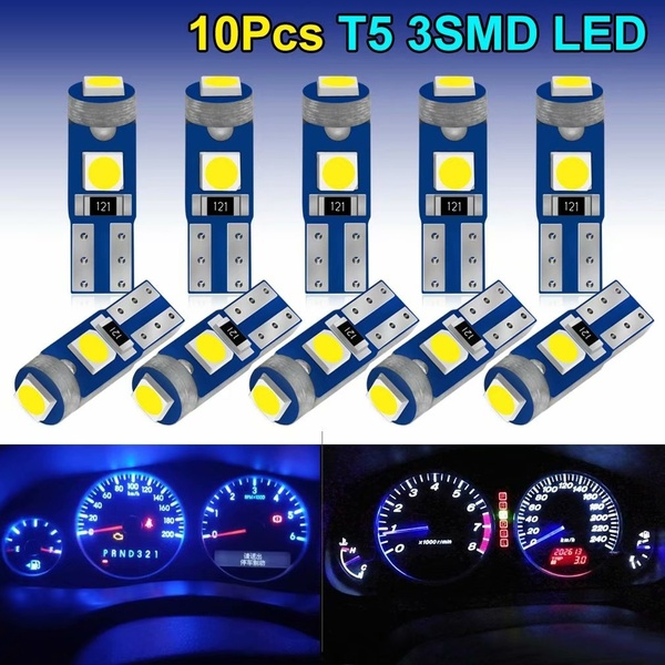 10 шт., светодиодные лампы T5 W3W W1.2W для салона автомобиля