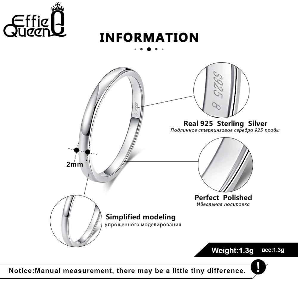 Effie Queen 925 เงินคู่แหวนคนรัก Geometric หมั้นแหวนเครื่องประดับแกะสลักคำ TSRC1