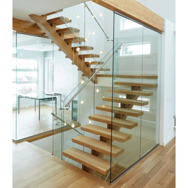 Modern U Shaped Staircase Single Beam Glass Railing Stainless   Staircase Steel Railing Designs With Glass   Banister   Duplex   Button Glass   Exterior Perforated Metal   Glass Balustrade Wood Post