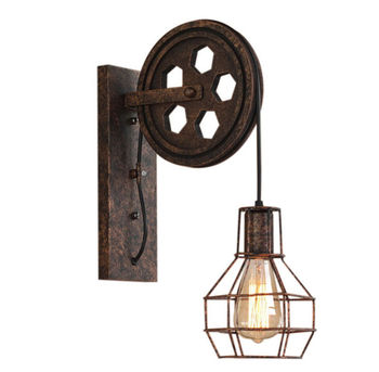 Retro Vintage Wall Light Shade Ceiling Lifting Pulley Industrial Wall Lamp Fixture Iron Loft Cafe Bar Adjustable Sconce Light