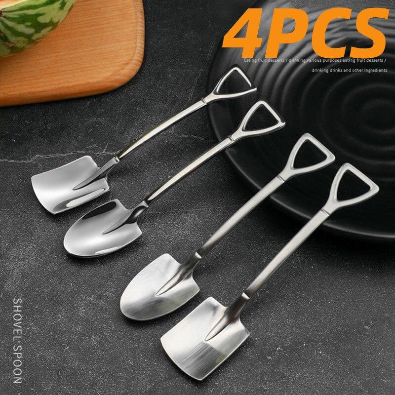 4PCS 304 stainless steel coffee spoon Retro shovel spoon  for ice cream Creative tea-spoon Tableware Bar Tool Cutlery set