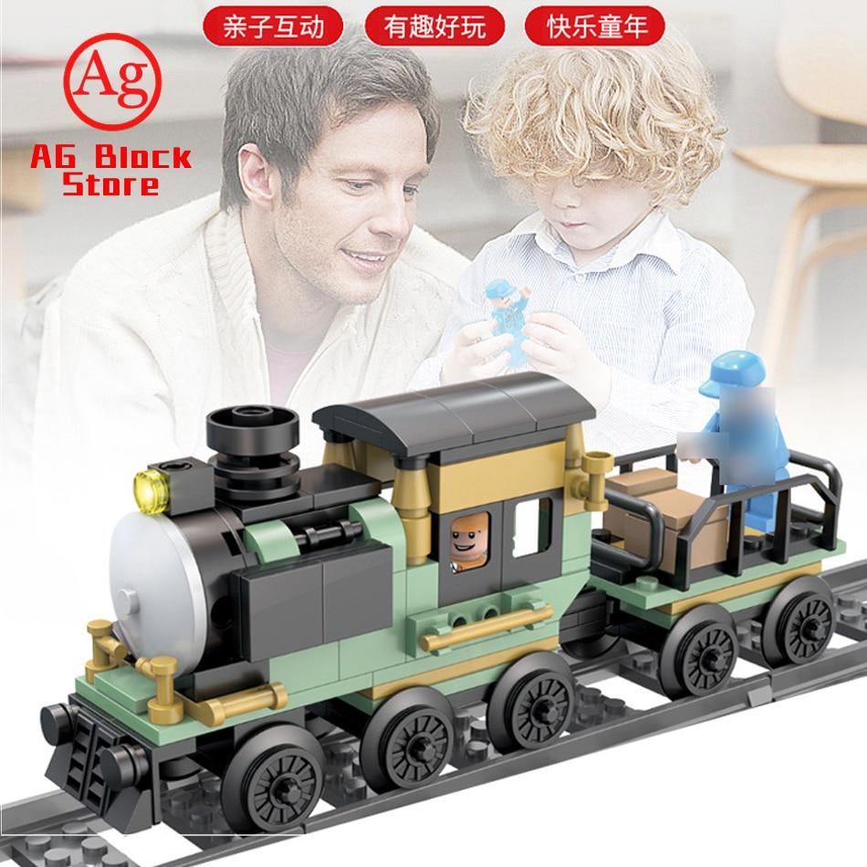 Train Compatible Legoed Technic Steam Cargo Train with Track Rail Building Blocks City Creator Figure Bricks Toys for Children