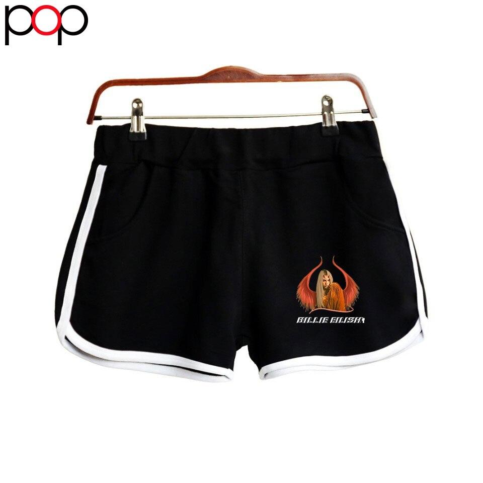 Billie Eilish Women Short Pant K Pop Casual Elastic Waist Fitness Fashion Short Pocket Harajuku All-match Solid Soft Short