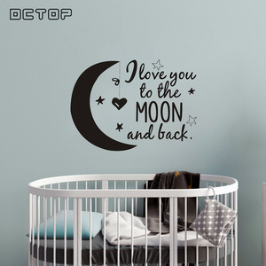 Love You to The Moon and Back Wall Stickers Wallpaper Quotes Modern Home Decor Decorative Vinyl Removable Room Decoration(China)
